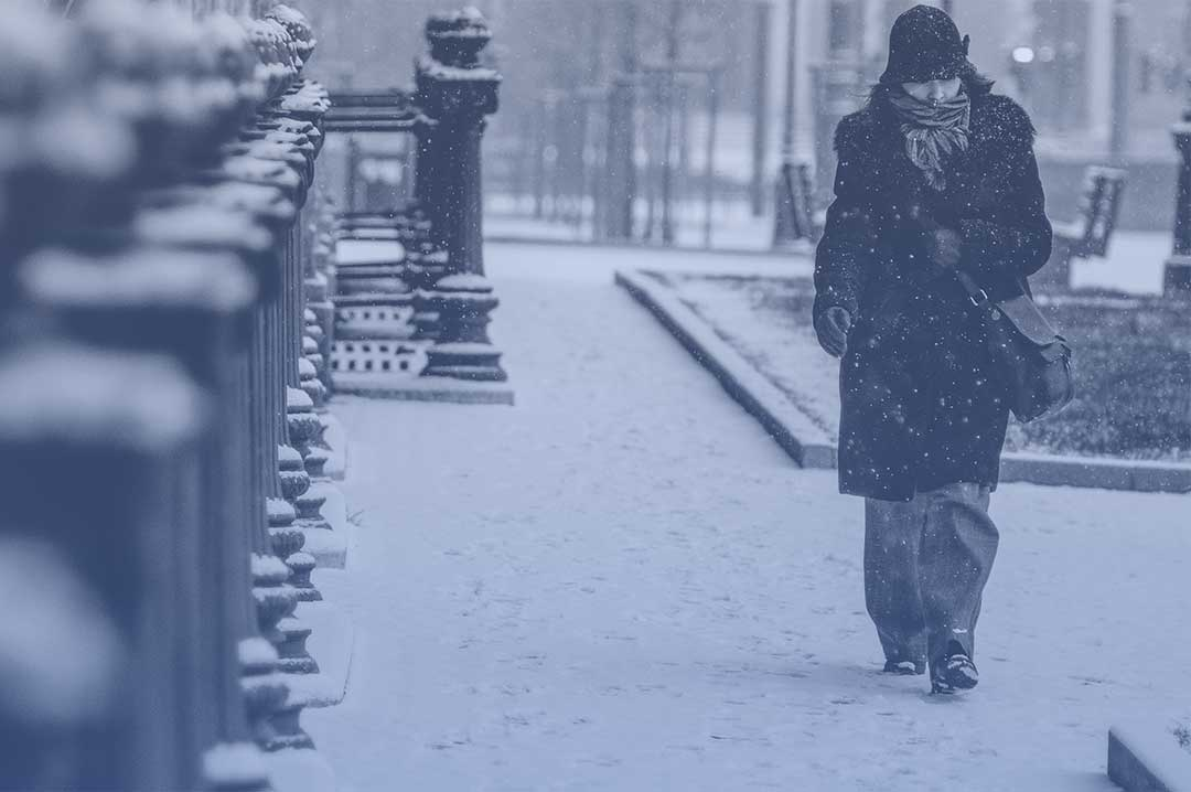 Woman walking in cold weather