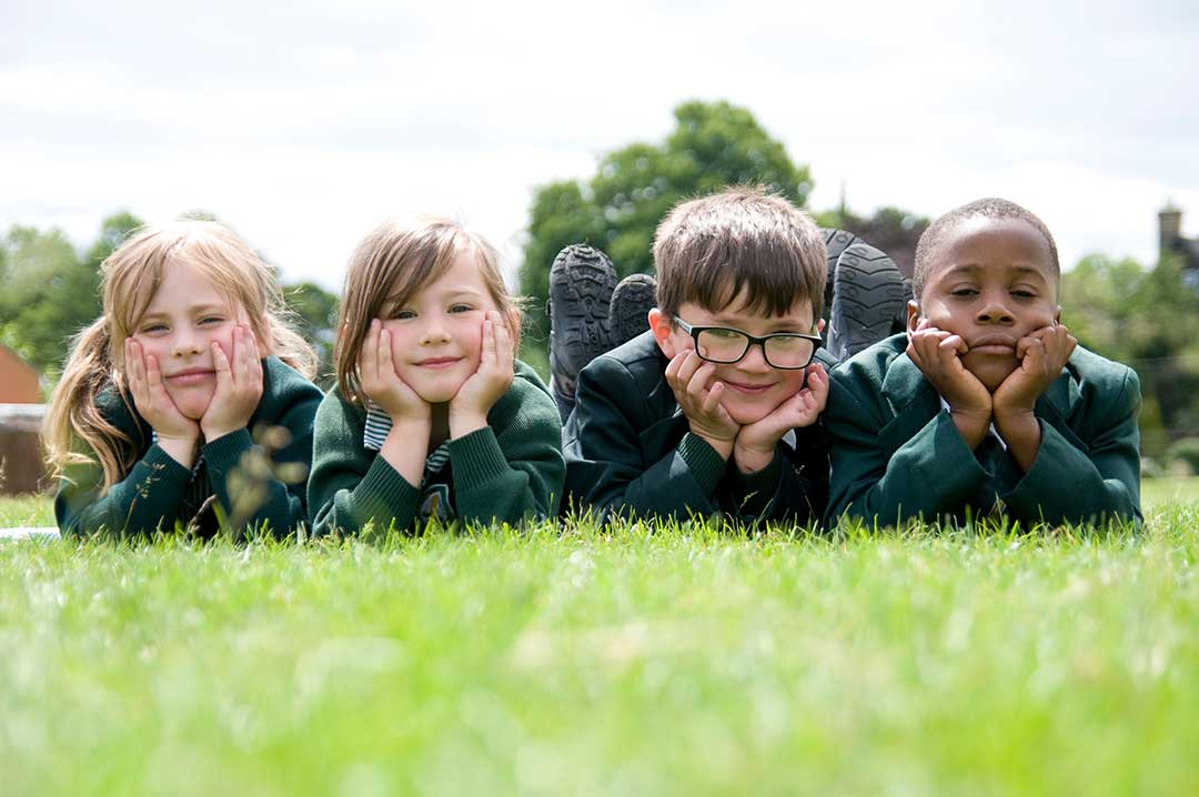 school pupils chilling outdoors