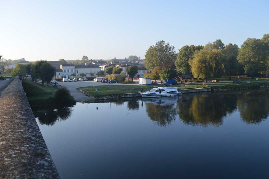 The Royal Mystique moored at Bourg Charente