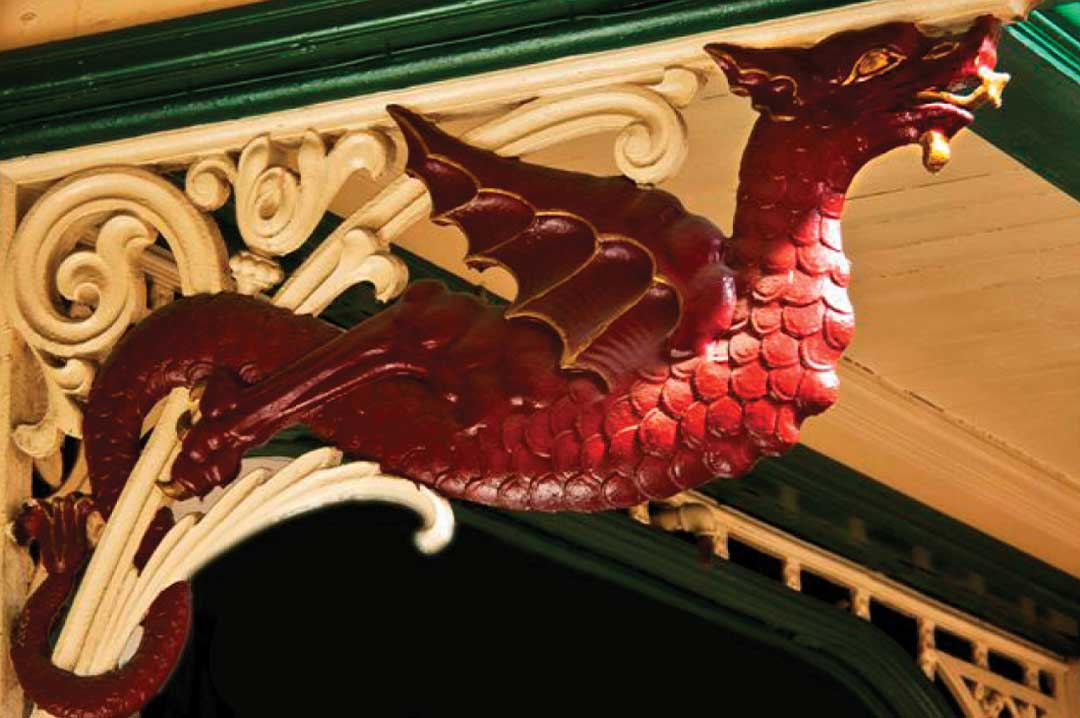 The famous red dragon at Leeds Kirkgate Market
