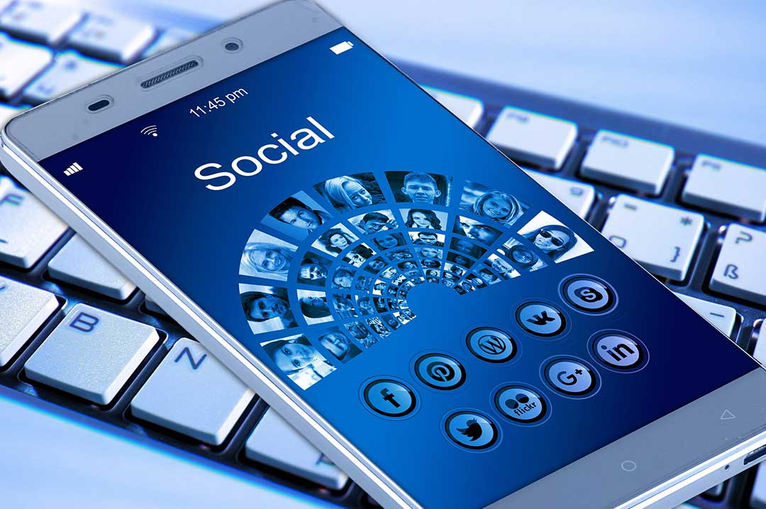 Smart phone showing social media
